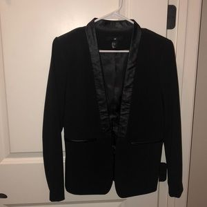 Blazer with faux leather trim